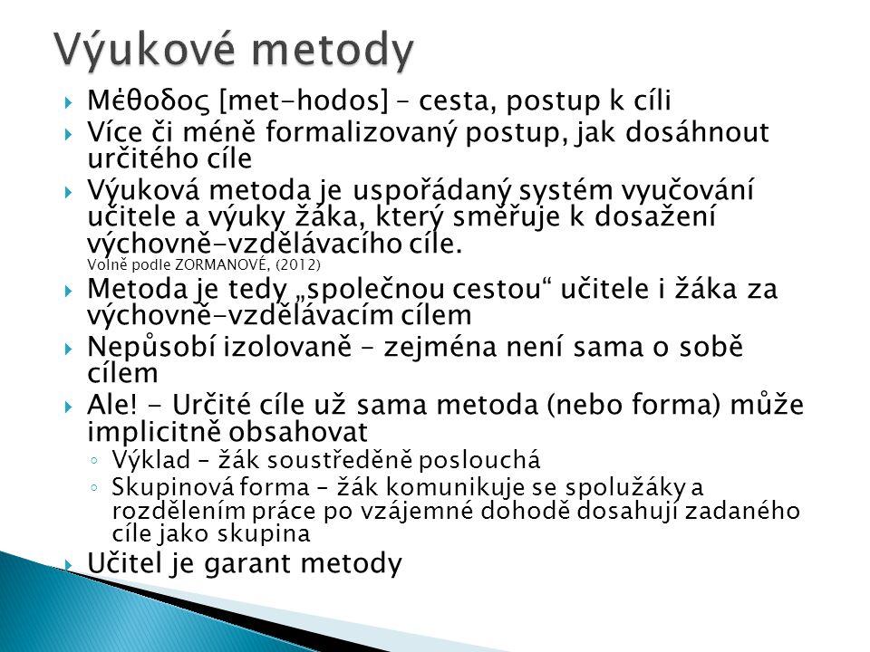 Výukové metody Μέθοδος [met-hodos] – cesta, postup k cíli